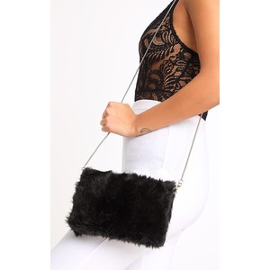 BLACK FLUFFY CLUTCH BAG