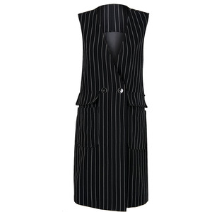 Black V-Neck Stripe Print Double Breasted Longline Waistcoat