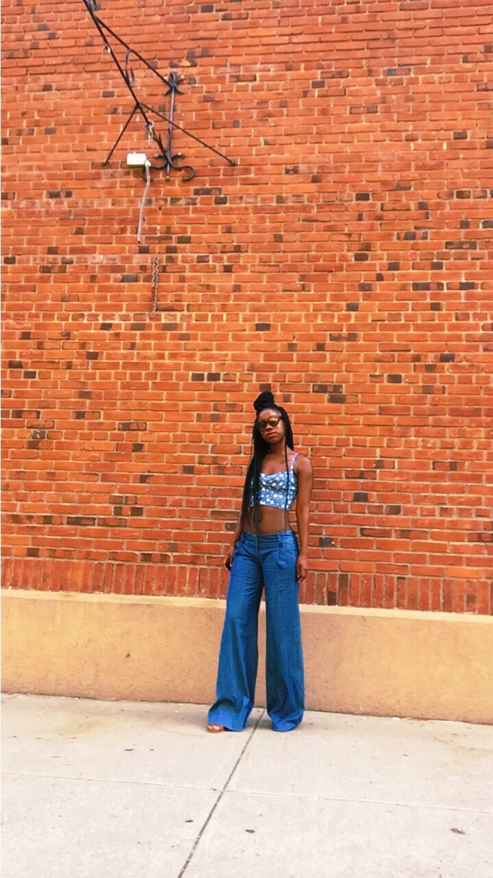 high-waisted denim flare pant style
