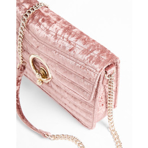 pink Velvet O-Ring Shoulder Bag