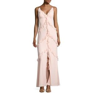 ice pink Aidan Aidan Mattox V-Neck Ruffled Gown