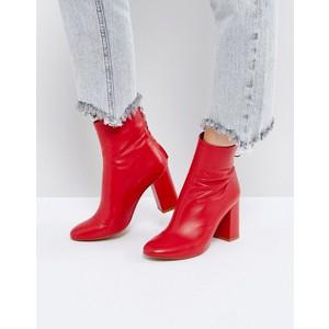 ASOS red zipper booties