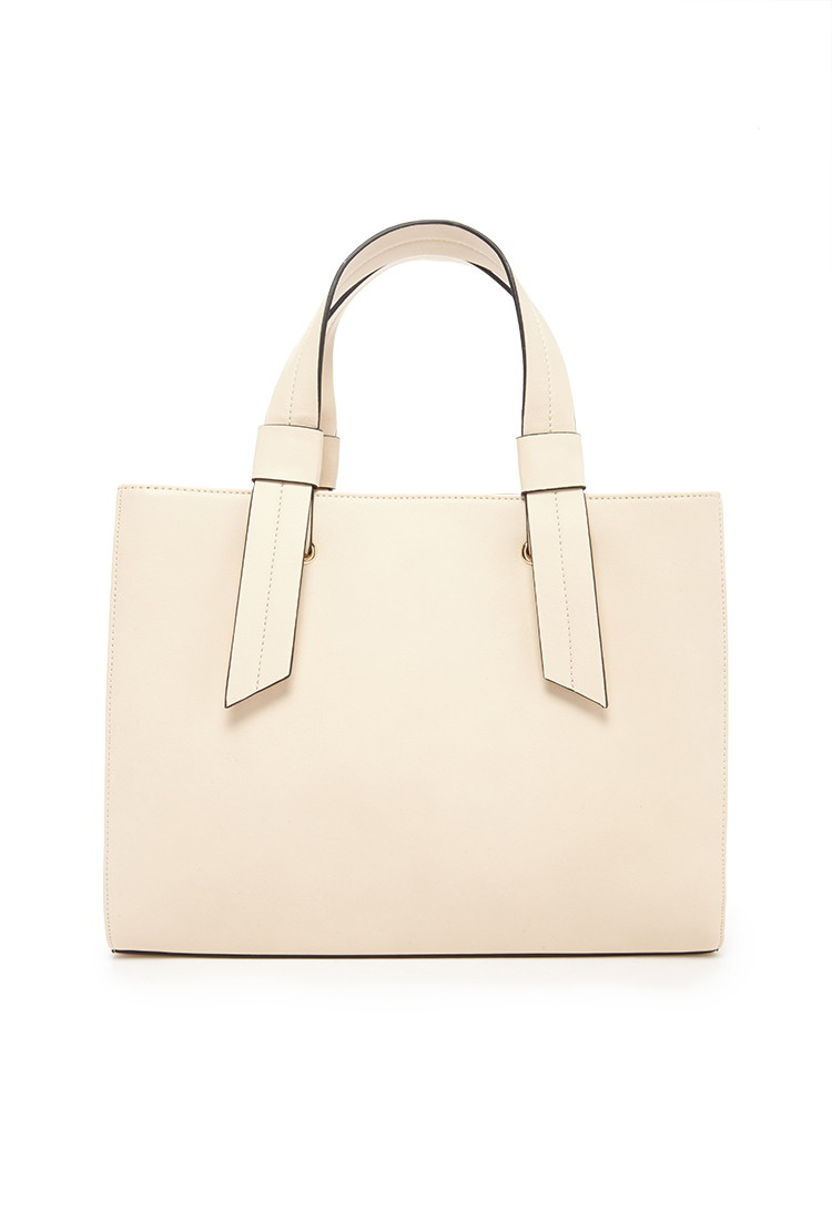 Forever 21 Women's Natural Structured Faux Leather Satchel