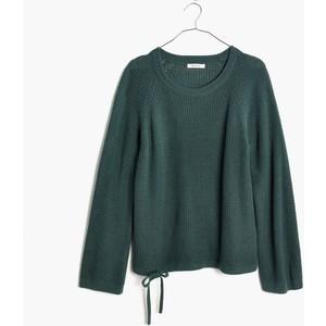 green wafflestitch drawstring sweater