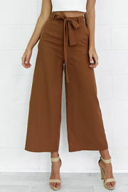 Loose Belted Wide Leg Palazzo Capri Pants Cropped Pants