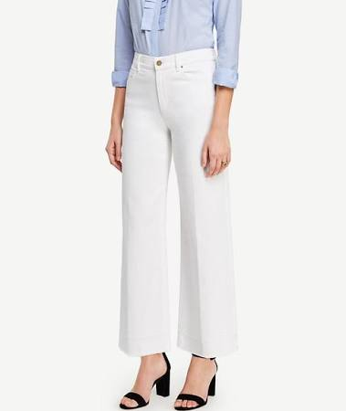 Raw Hem Wide Leg Crop Jeans In White