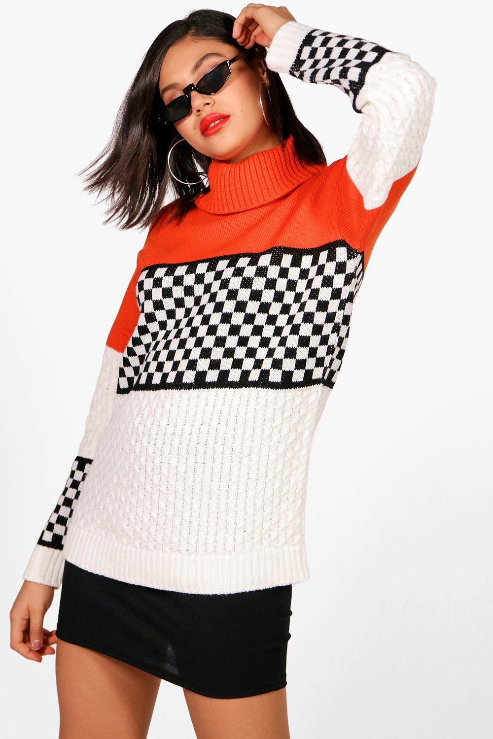 Ashleigh Motorcross Colour Block Knitted Jumper