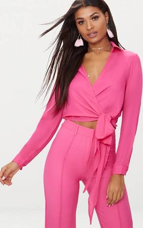 Fuschia Avalyn wrap Front Tie Side Blouse