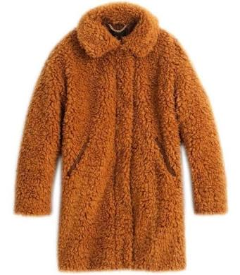 J.Crew Teddy Textured Brown Faux Fur Coat Jacket