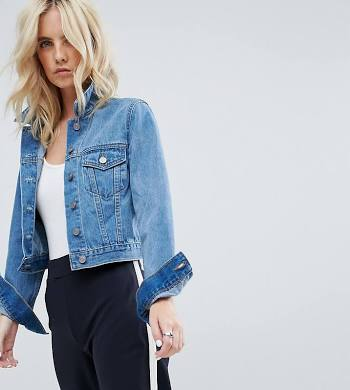 ASOS DESIGN Petite denim shrunken jacket in midwash blue