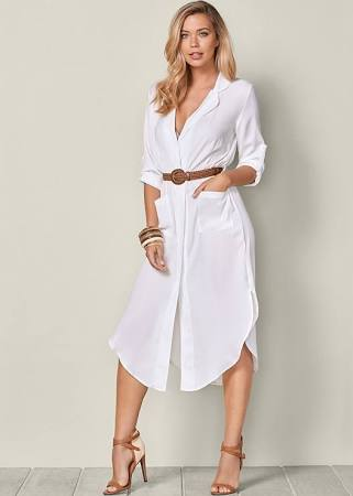 BELTED MIDI SHIRT DRESS