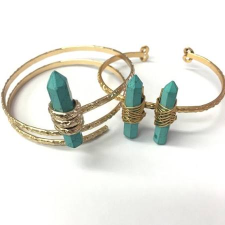 Double and Single Stone Bangles Imitation Turquoise Gold Electroplated Spike Stone By Piece