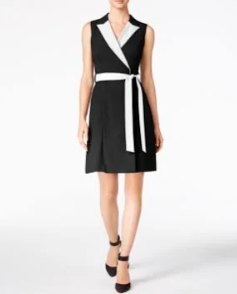 Calvin Klein Colorblocked Wrap Dress, Regular & Petite
