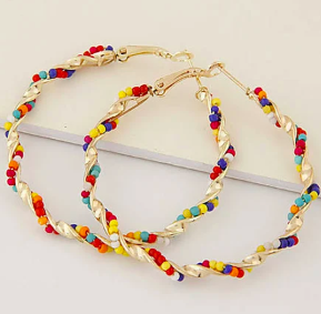 Women's Beads Hoop Earrings