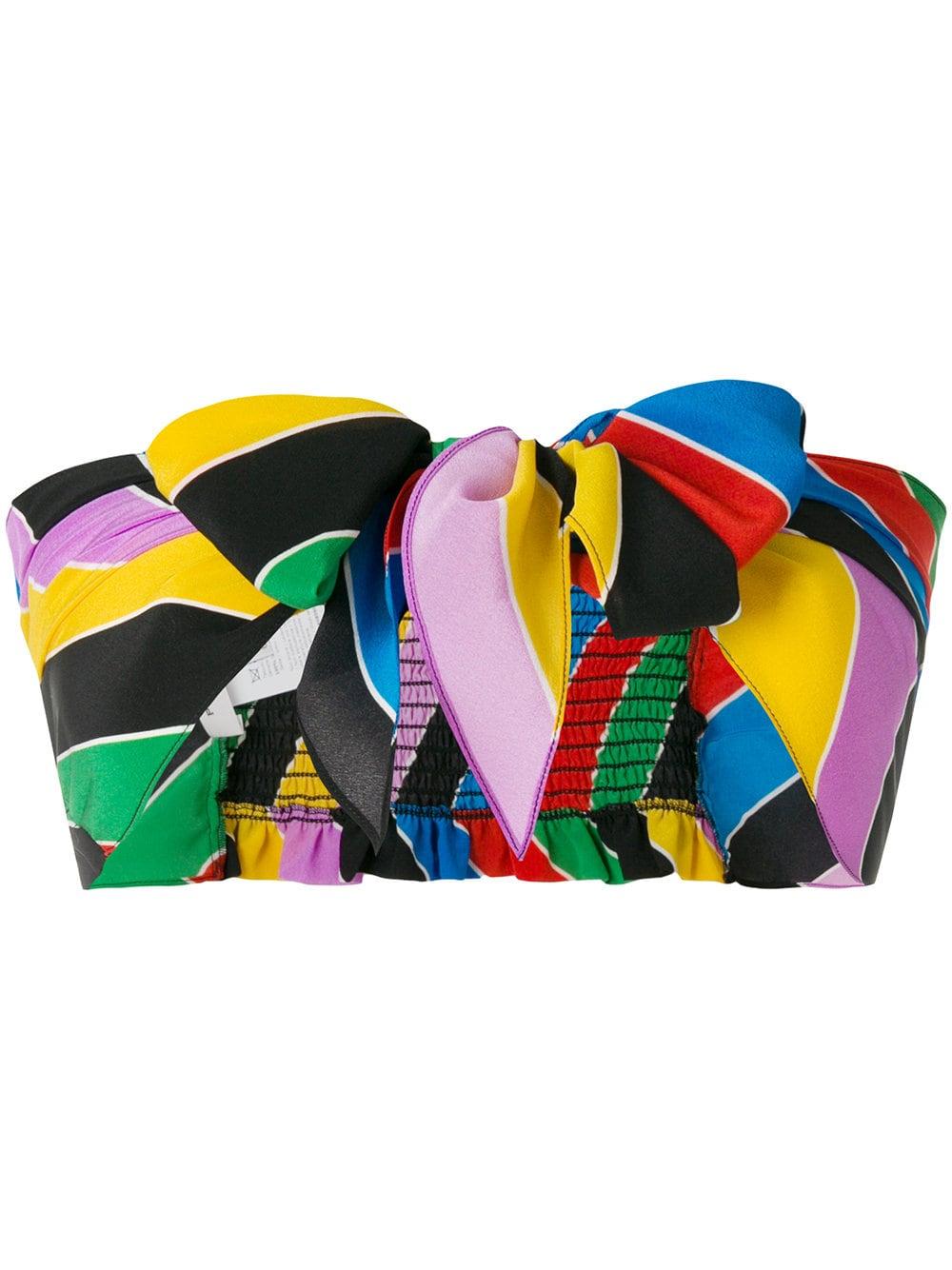 rainbow stripe tie front crop top