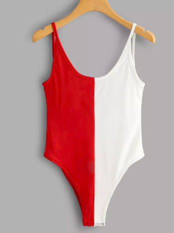 Open Back Color Block Bodysuit