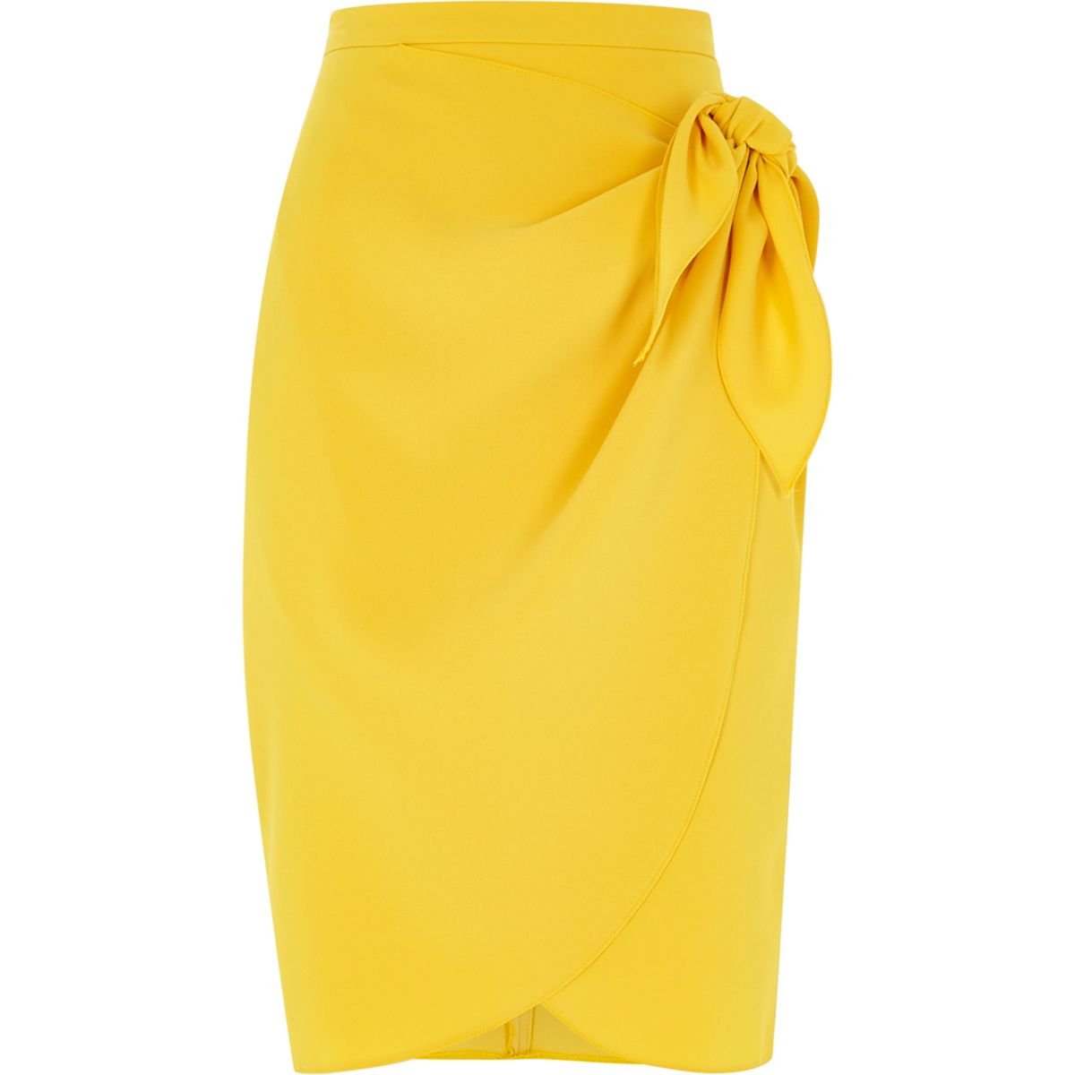 Dark yellow tie front pencil skirt