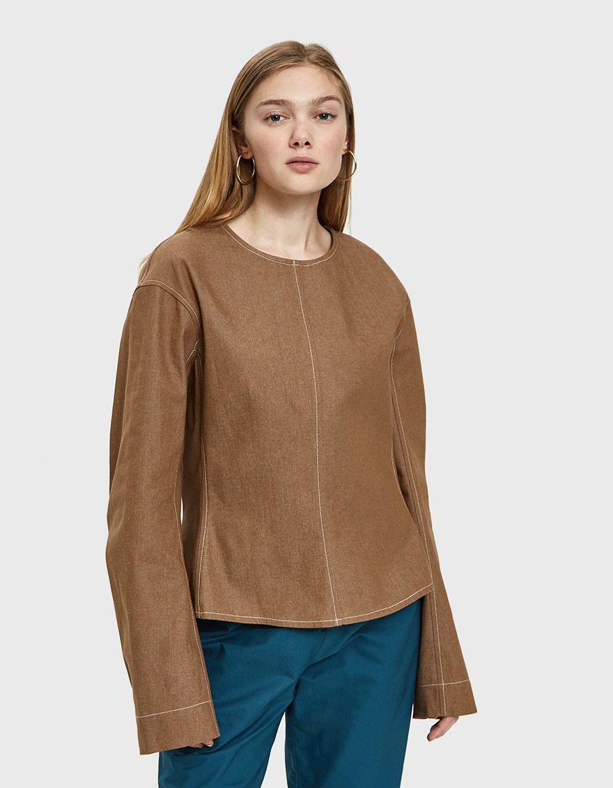 Lemaire Plasteron Top in Tobacco