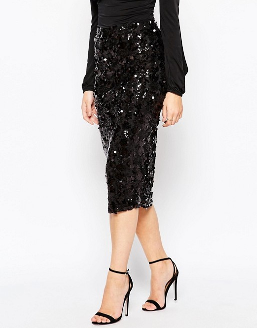 Boohoo Sequin Midi Skirt