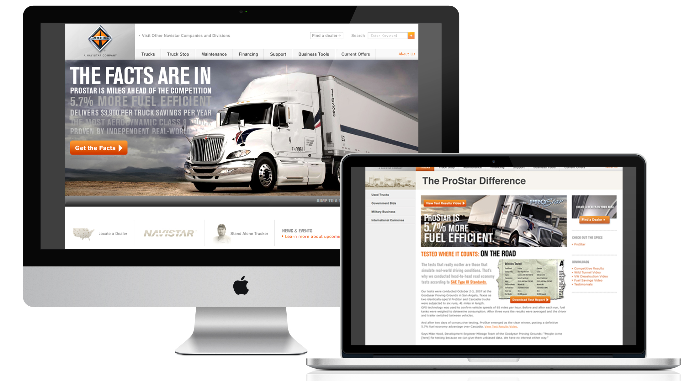 Microsite for the new ProStar, the most aerodynamic, fuel efficient long-haul truck available. Interactive features developed to show impact.