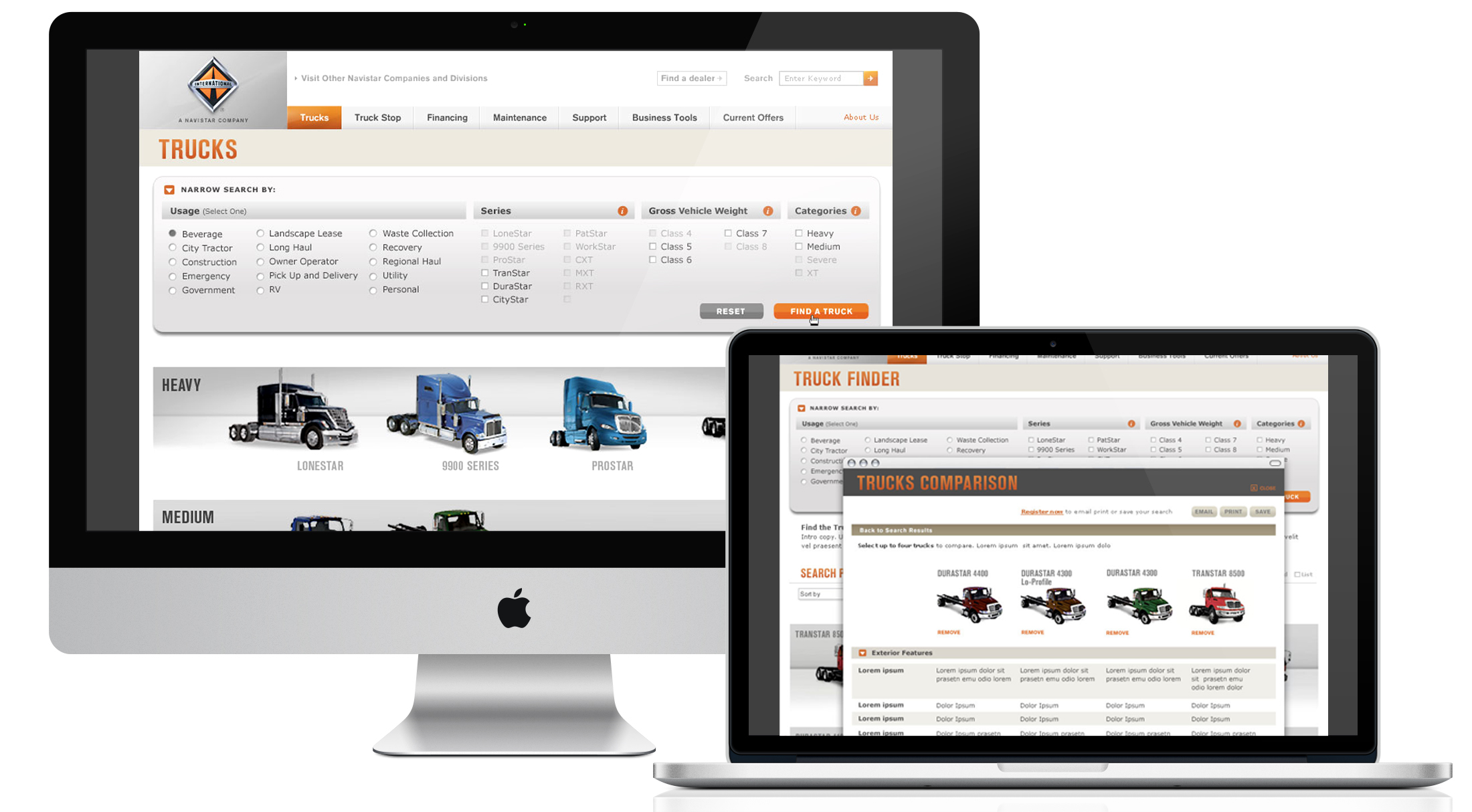 Customers ranged from large fleets to small business owners to independent truckers, many of whom relied on the website to figure out which truck(s) was right for their needs. A truck finder application wasdevelopedthat provided direction, filters and comparisons.