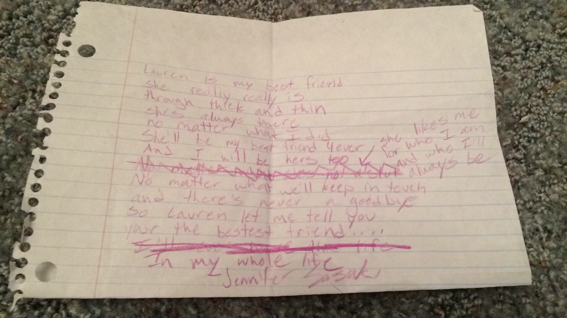 A poem from around the time we first met as kids in 4th grade, but still true till this day!!!