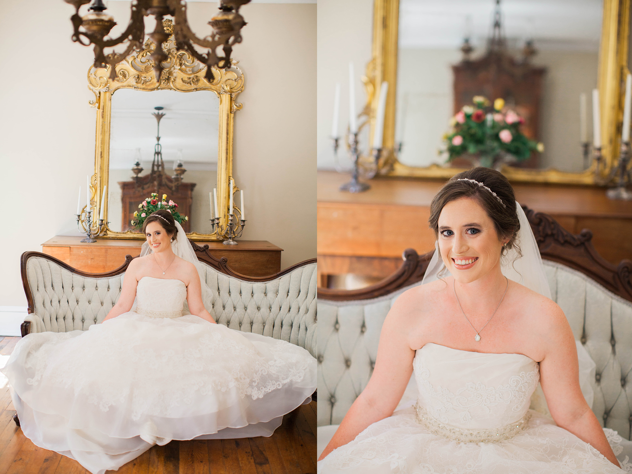 Beautiful bride smiling in wedding gown at Cokesbury College