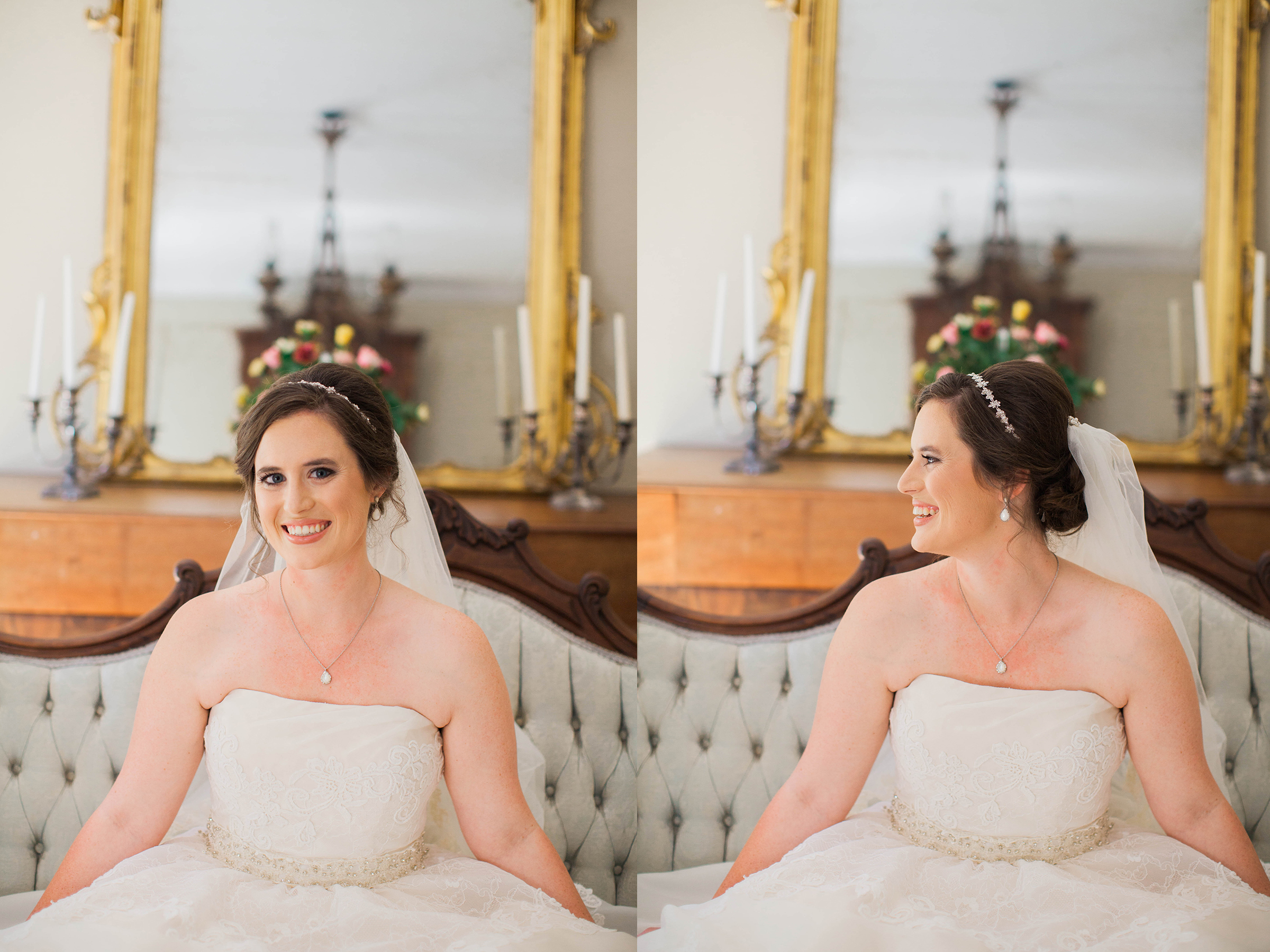 Beautiful bride sitting in wedding gown at Cokesbury College