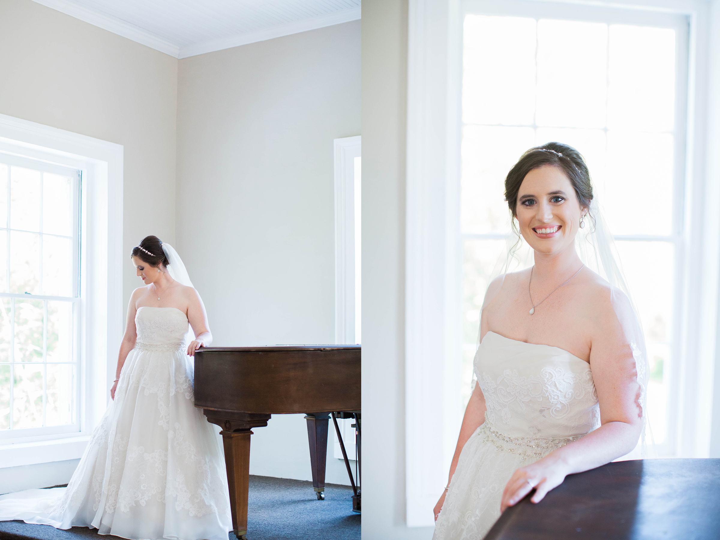 Beautiful bride in wedding dress at Cokesbury College
