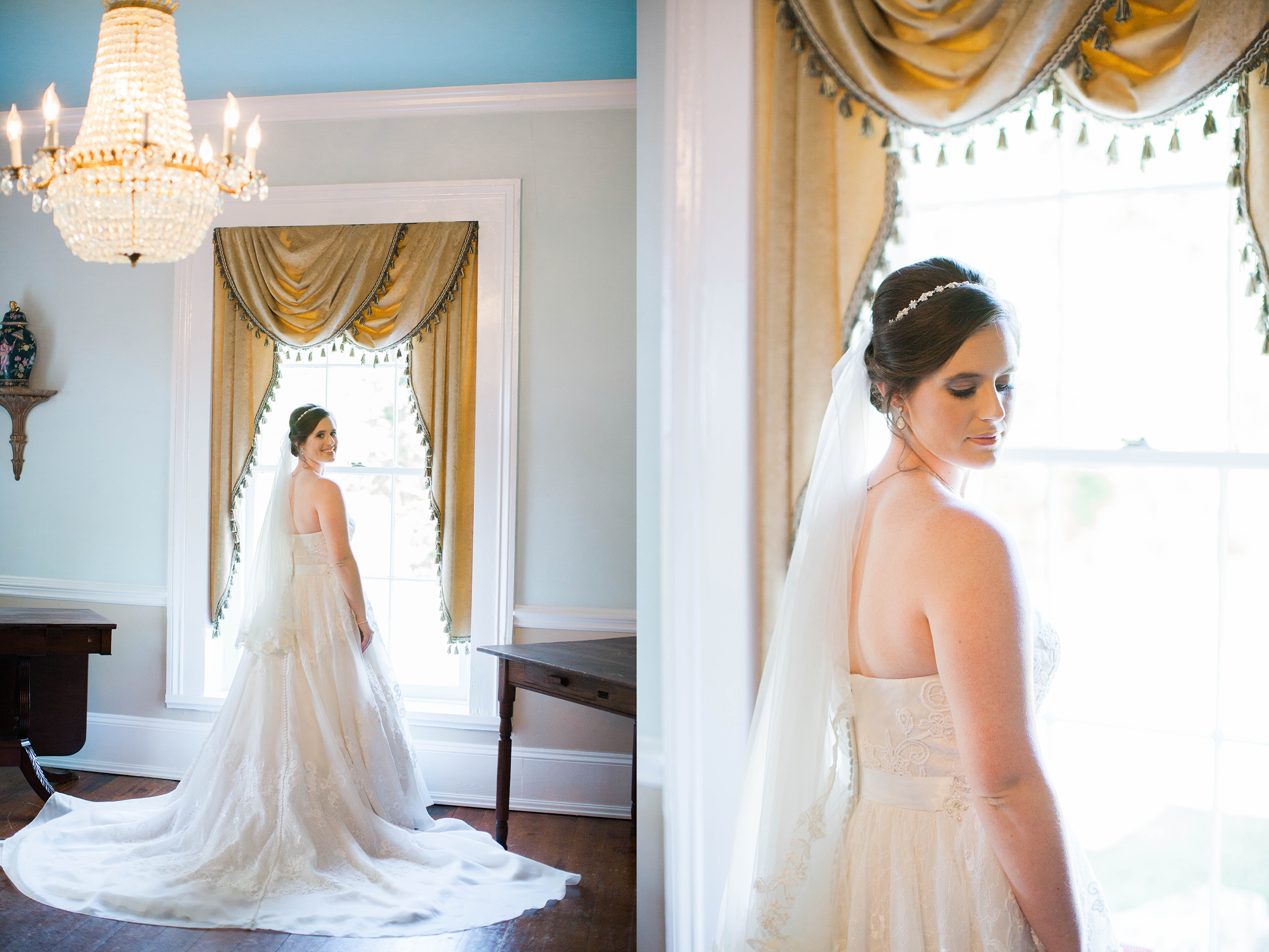 Bride in wedding dress at Cokesbury College