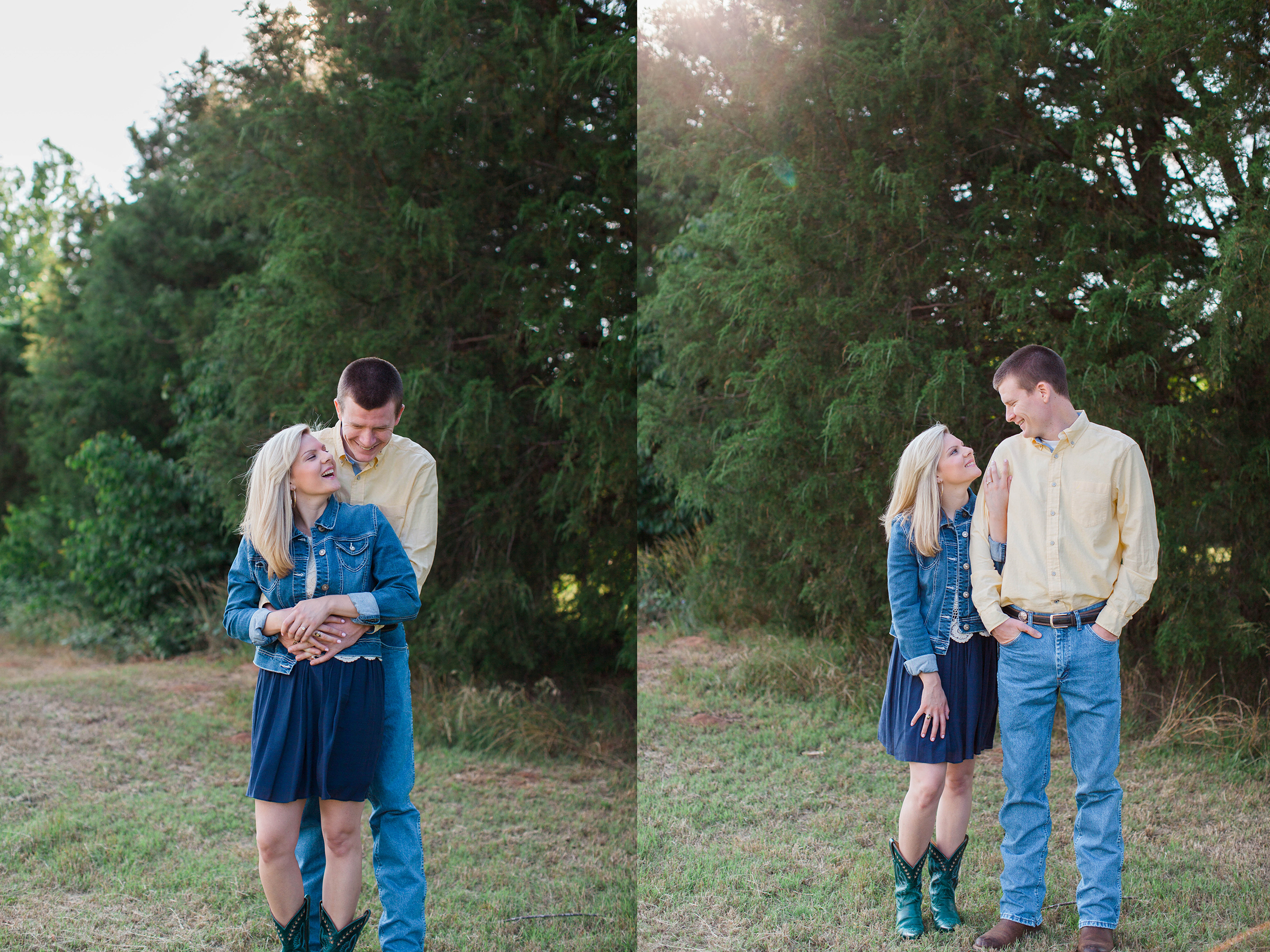 Couple in love at their engagement session at Ellery Farms