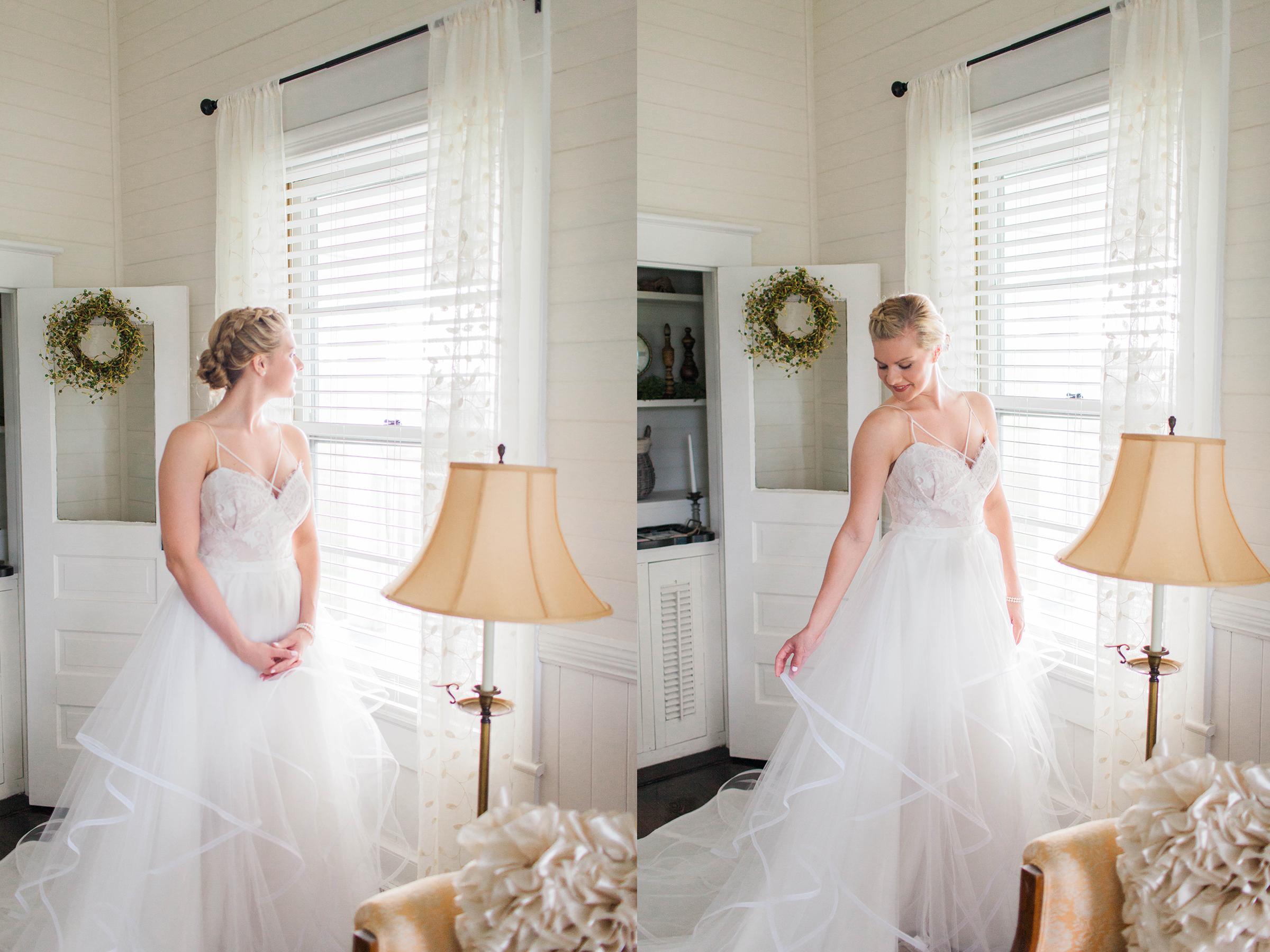 Beautiful bride in wedding dress at Ellery Farms