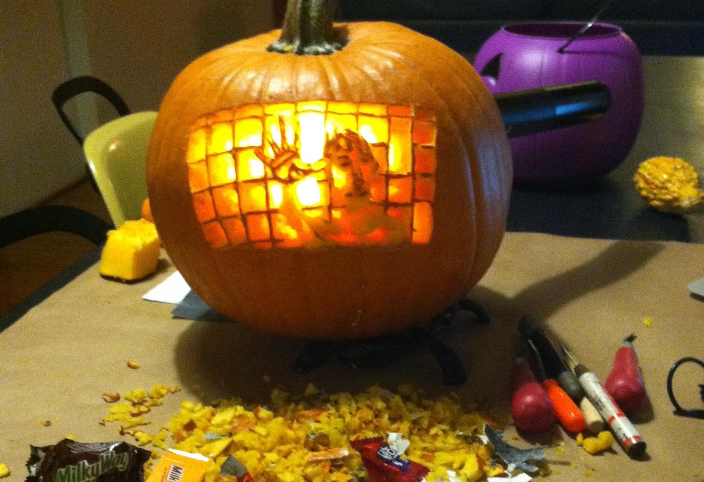 Candy. Pumpkin shrapnel.