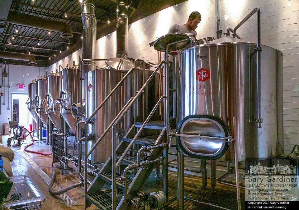 Alex Francis mashing in at Temperance Row Brewing Co. (Nov. 2014) Photo Cred: Gary Gardiner