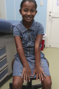 Geraldine DeBrum is 8 years old, and has lived with a dislocated elbow for 8 months. She lives in Majuro, Republic of the Marshall Islands.