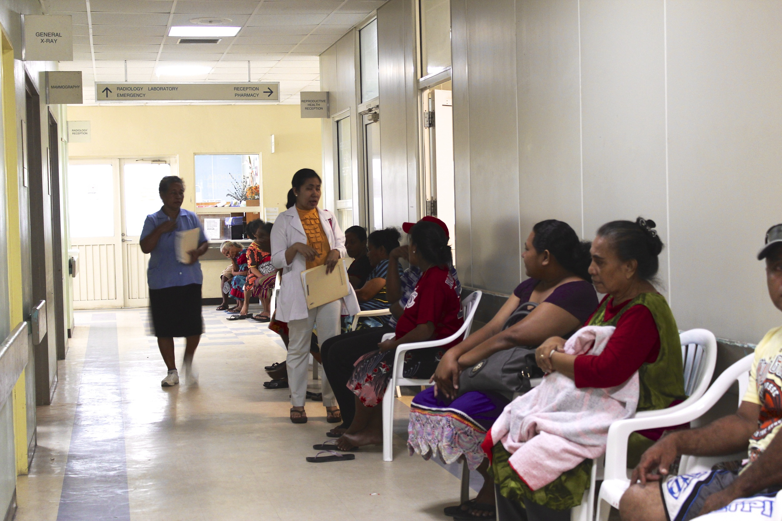 Patients wait at our gynecology clinic on Majuro.