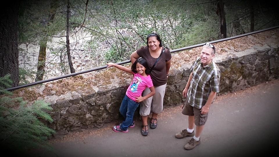 Geraldine and her mother, left, on a trip to McArthur-Burney Falls Memorial State Park.