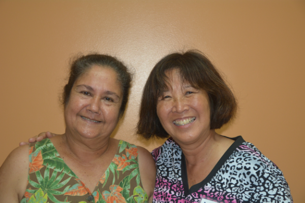 L to R: Grateful patient Edith Techur and Jacque Spence.
