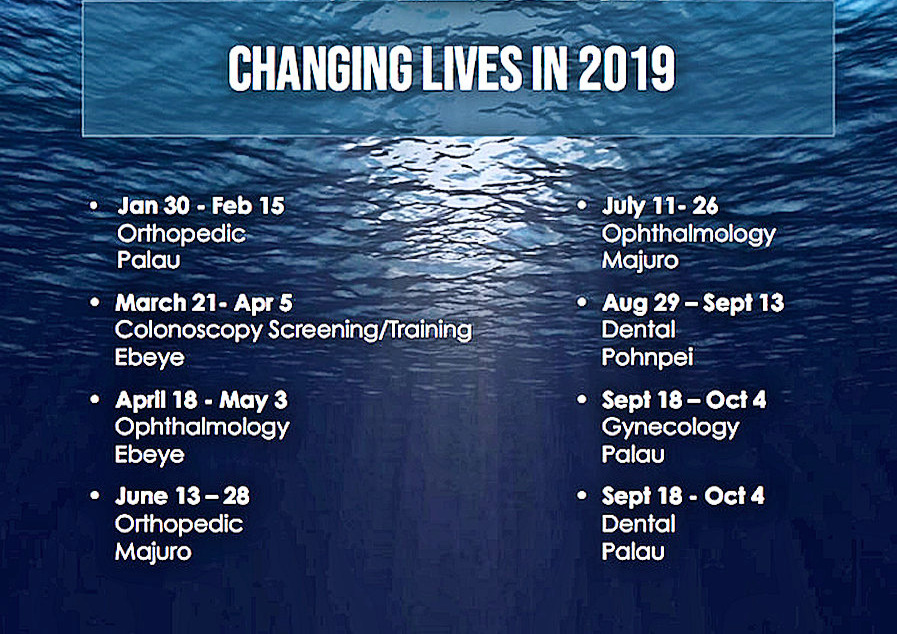 Our Mission Schedule 2019 - Volunteer Opportunities Still Available