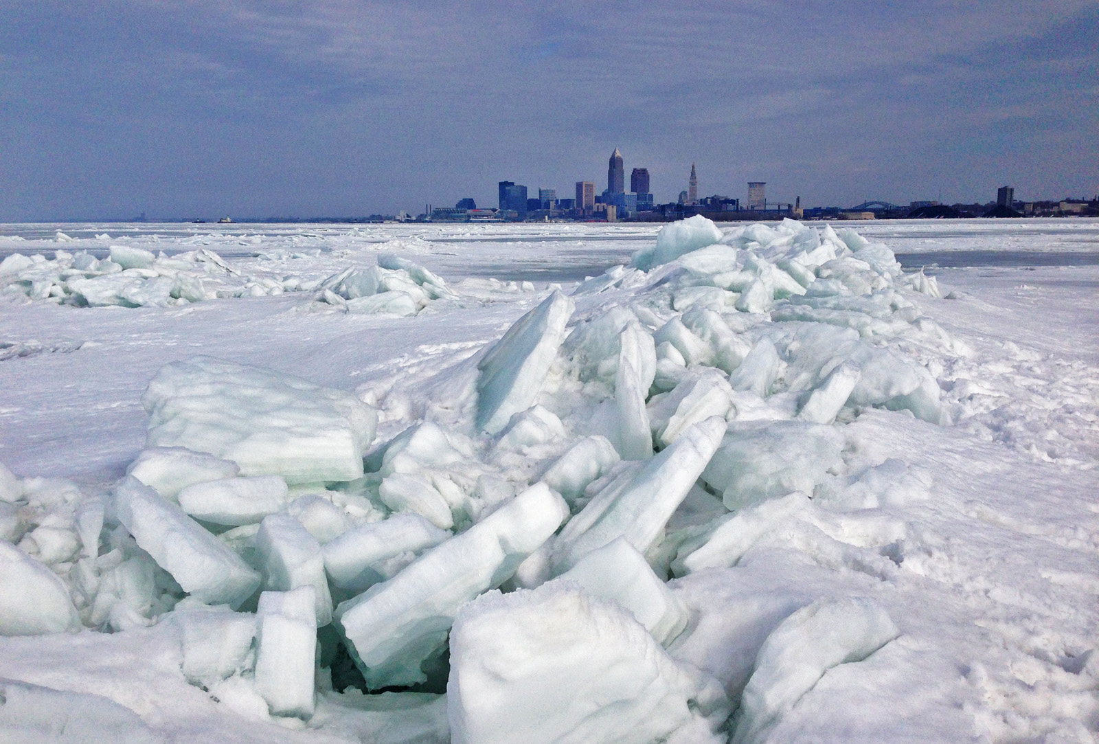 The view of Cleveland from Lake Erie on March 9, 2015