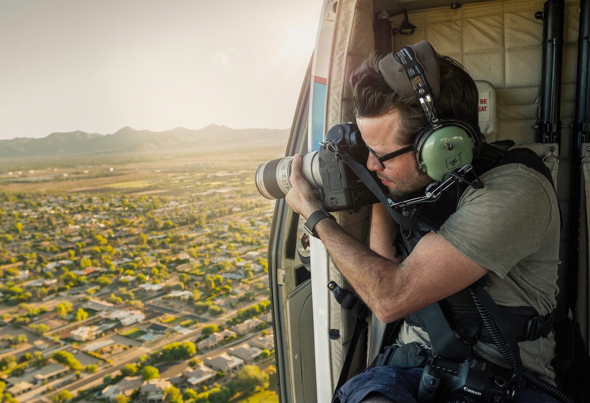 Shooting some aerial photography, in an MD902 Explorer.