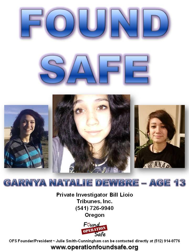 Garnya Natalie Dewbre - age 13 - FOUND SAFE - missing since 02-21-15 from Winston, OR.jpg
