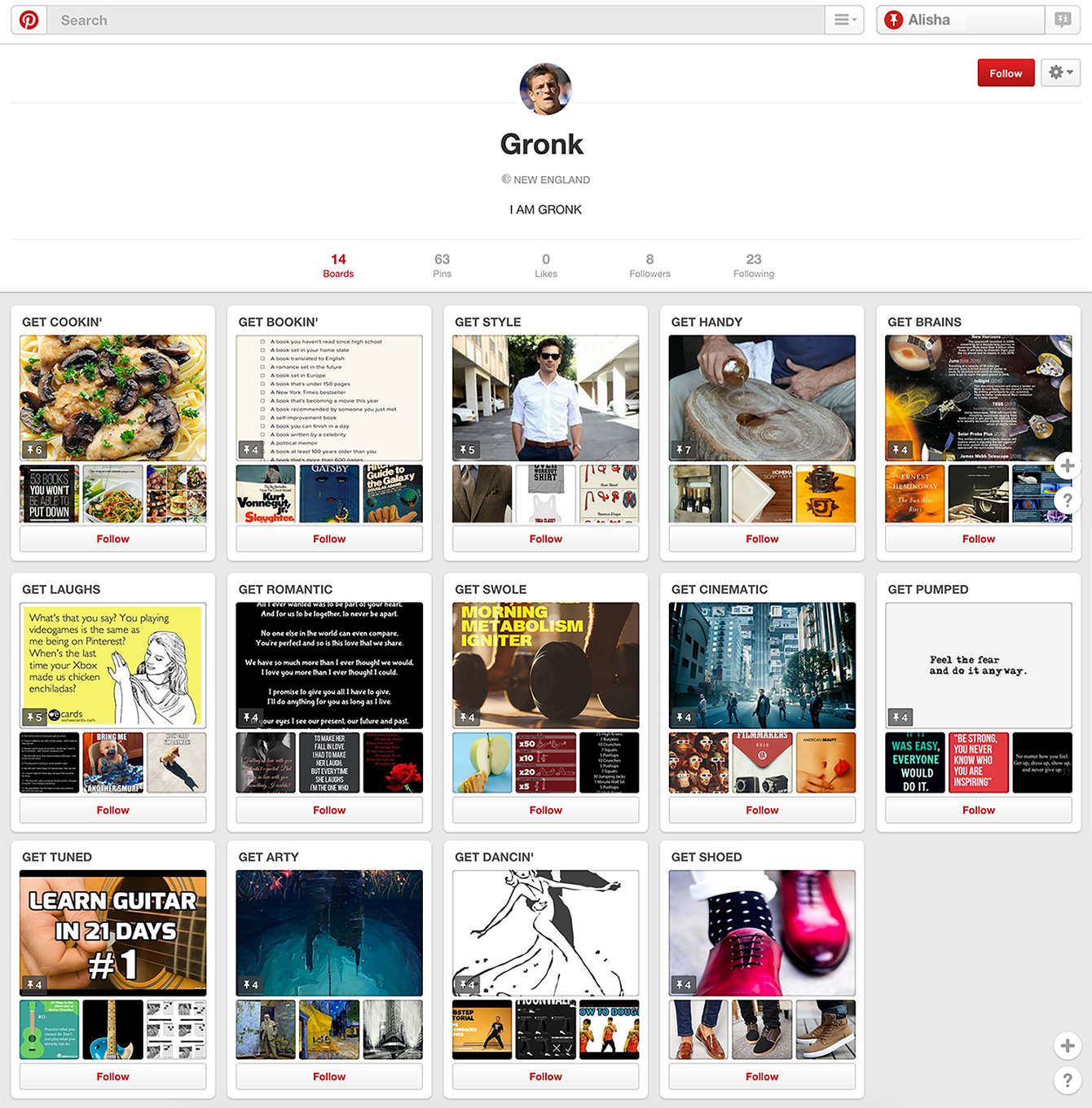 Gronk's Personal Pinterest Page