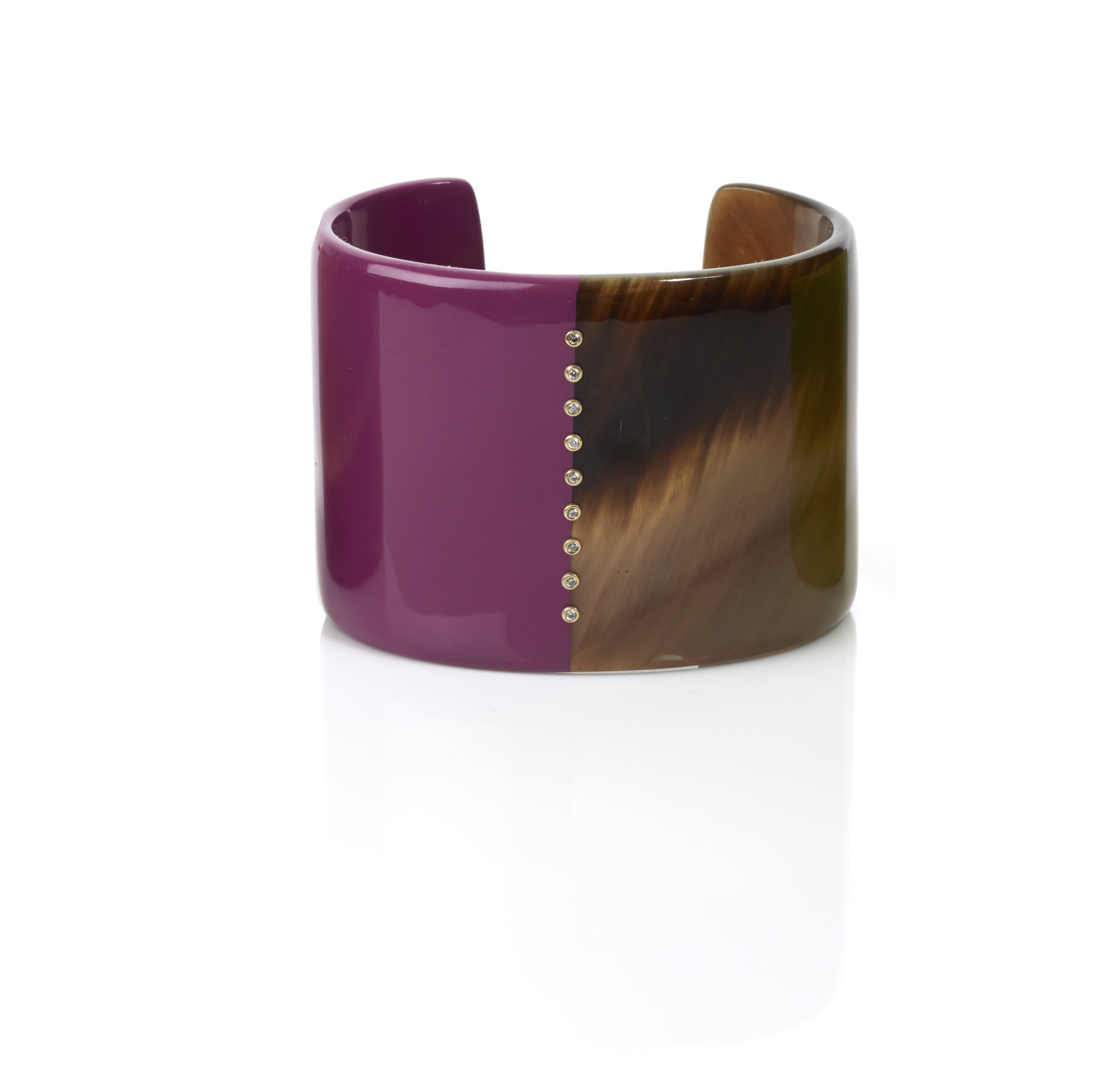 Horn Cuff, shown here in honey horn with magenta lacquer, embellished with nine 18k set diamonds.  Inquire