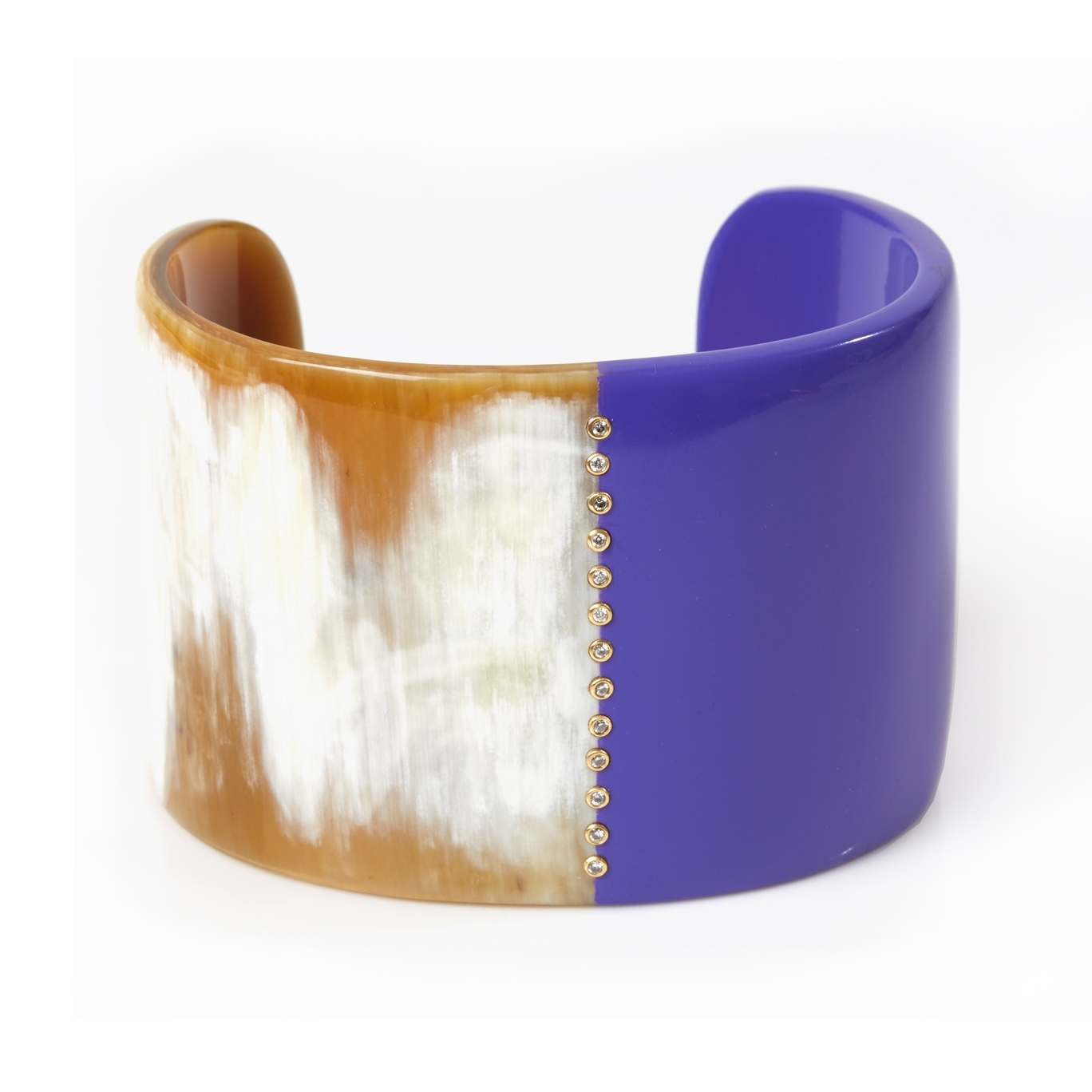 Natural horn with purple lacquer, embellished   with thirteen   18k set diamonds.  Inquire