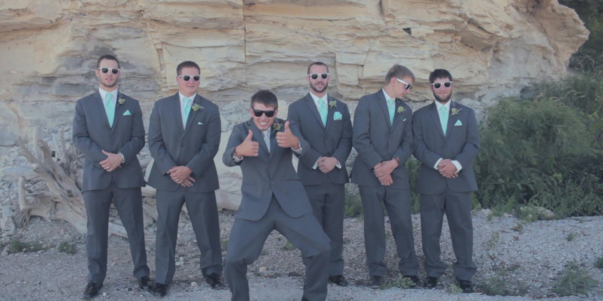 wedding groomsman glasses pose
