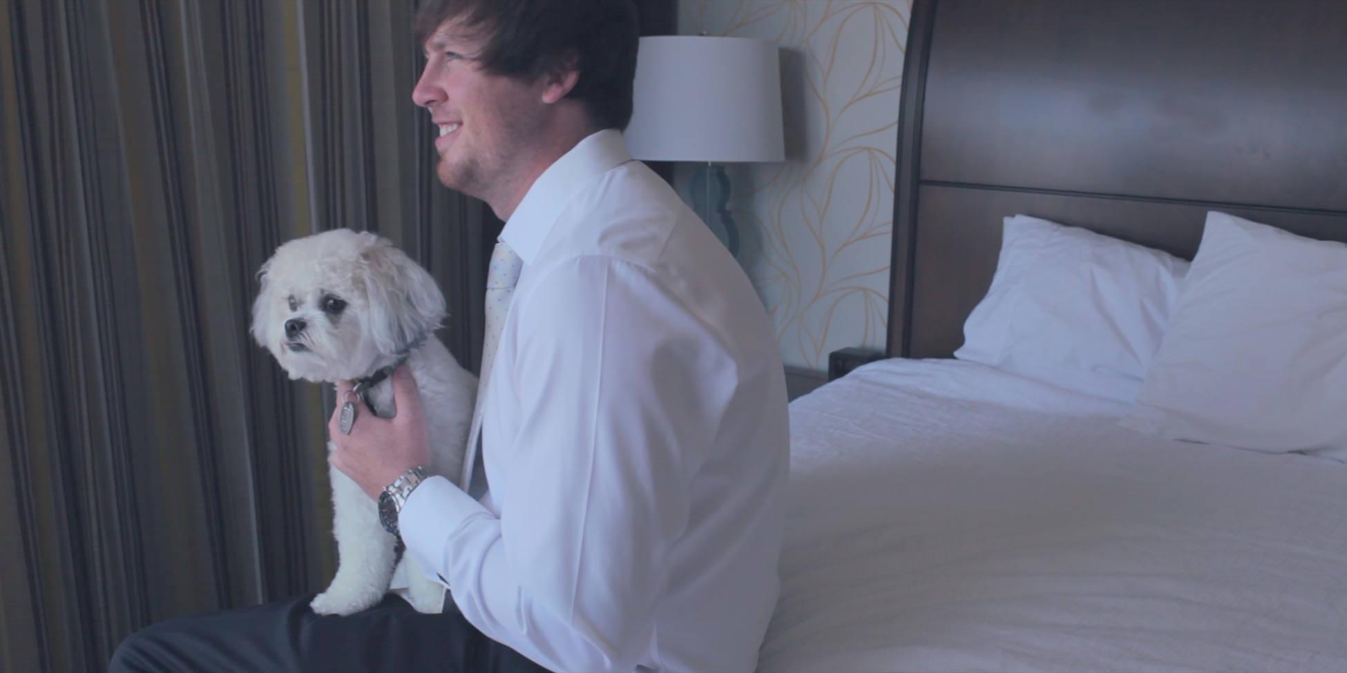 wedding groom dog