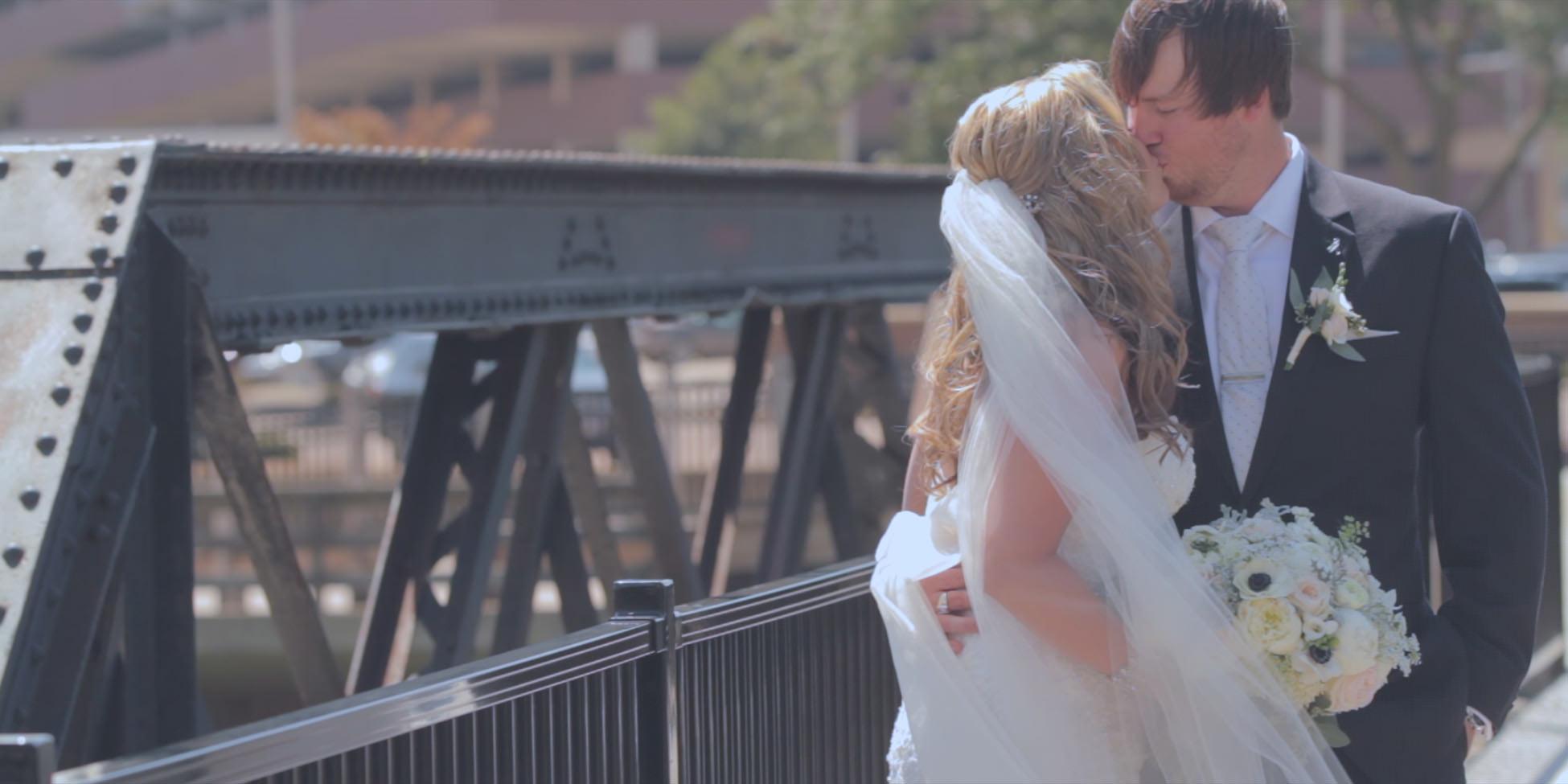 wedding bride and groom kiss