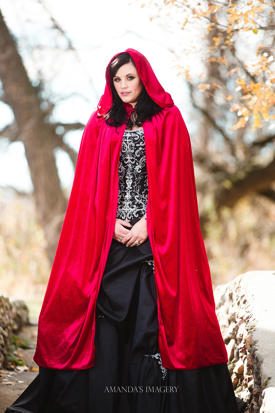 red cape black wedding dress