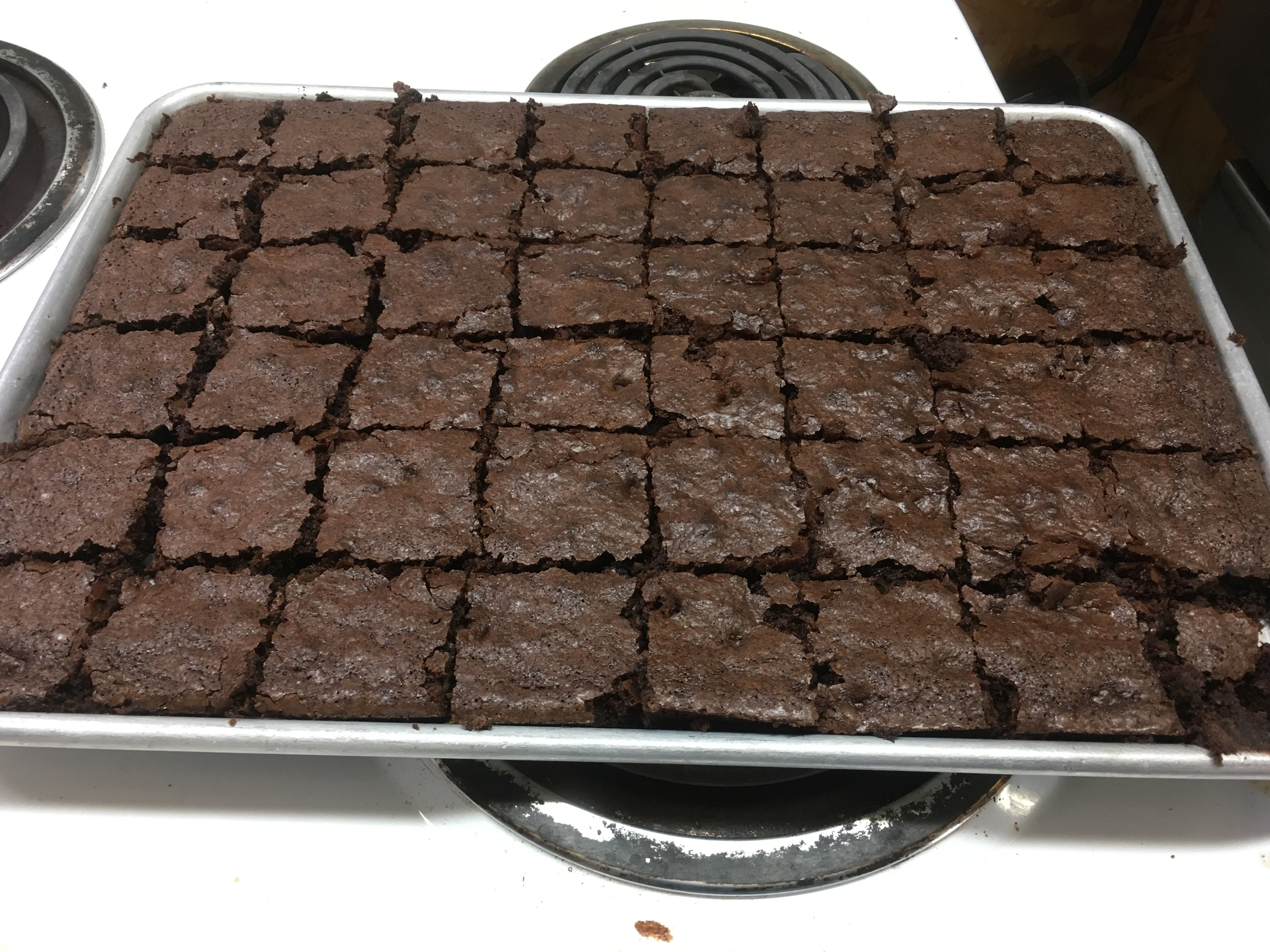 brownies cut and ready to serve - never mind the piece missing in the bottom right corner